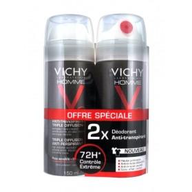 Vichy Homme Déodorant Anti-Transpirant Triple Diffusion Lot de 2x150ml