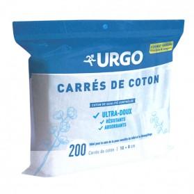 URGO CARRÉ DE COTON 10*8CM ULTRA- DOUX RÉSISTANTS ET ABORBANTS 200 CARRÉS DE COTONS
