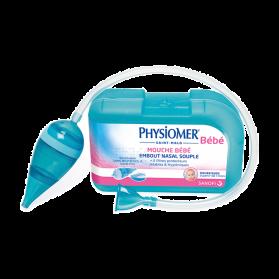 PHYSIOMER - Mouche bébé avec embout nasal souple + 5 filtres jetables, 1 unité