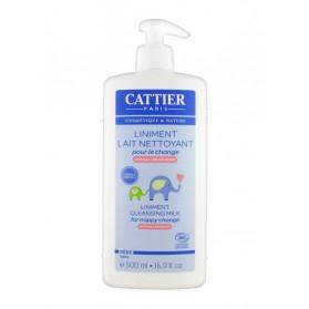 Cattier Bébé Liniment Lait Nettoyant pour le Change Hypoallergénique 500 ml