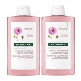 KLORANE Shampoing Apaisant & Anti-Irritant à la Pivoine de Chine - Lot de 2 x 400 ml