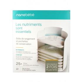 BEABA Nanobébé Boîte de Rangement et 25 Pochettes de Conservation de 150 ml