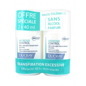 Ducray Hidrosis Control Roll-On Anti-Transpirant Aisselles Lot de 2 x 40 ml