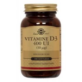 SOLGAR Vitamine D3 400 UI 10 microgrammes, 100 softgels