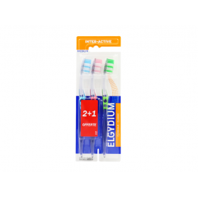 Elgydium brosse à dents inter-active medium- x2 + 1 OFFERTE