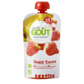 GOODGOUT PUREE DE FRUIT BIO FRAISE BANANE 120G
