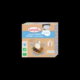 Babybio Gourdes Desserts lactés Brassé Brebis et Prune dès 6 mois 4x85g