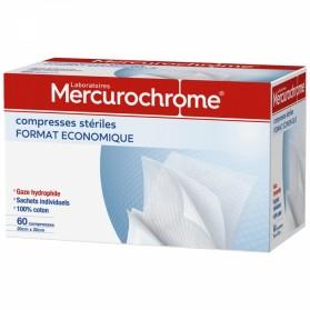 MERCUROCHROME COMPRESSES STERILES 20CMX20 FORMAT ECONOMIQUE X60