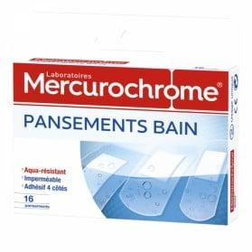 MERCUROCHROME PANSEMENTS BAIN 3 TAILLES 16 PANSEMENTS