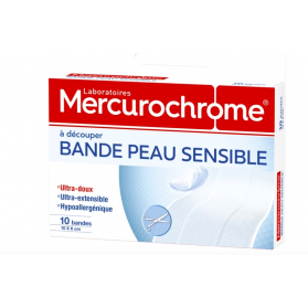 MERCUROCHROME BANDE PEAU SENSIBLE X10