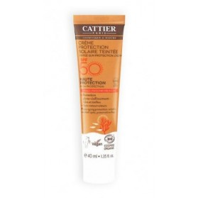 CATTIER SOLAIRE Crème protection teintée SPF 50 visage et décolleté BIO 40ml