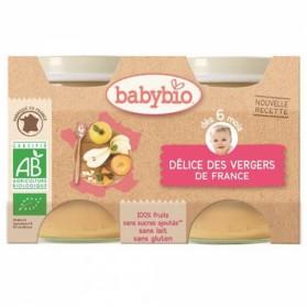 BABYBIO PETITS POTS DE FRUITS BIO 2X130G DES 6 MOIS DELICE DE FRUIT
