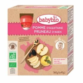 BABYBIO GOURDES FRUITS BIO 4X90G DES 6 MOIS- POMME PRUNEAU