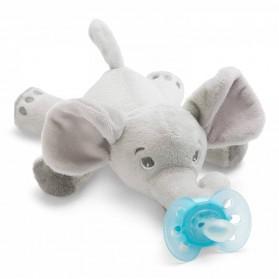 Philips Avent Peluche Attache Sucette + Sucette 0-6 mois Elephant