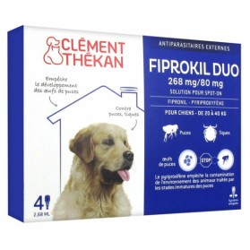 CLÉMENT THÉKAN FIPROKIL DUO 268 MG/80 MG CHIEN 4 PIPETTES