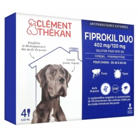 CLÉMENT THÉKAN FIPROKIL DUO 402 MG/120 MG CHIEN 4 PIPETTES