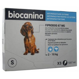 BIOCANINA FIPRODOG 67 MG SOLUTION SPOT-ON PETITS CHIENS 3 PIPETTES DE 0,67 ML
