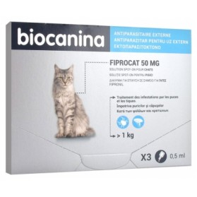 BIOCANINA FIPROCAT 50 MG SOLUTION SPOT-ON CHATS 3 PIPETTES DE 0,5 ML