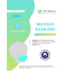 Masque barrière catégorie 1 UNS1 enfant 4-10 ANS sachet de 6 masques 20 lavages