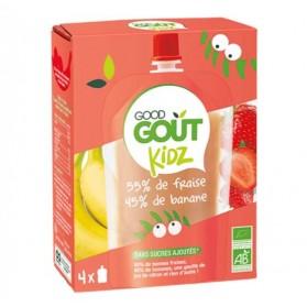 GOOD GOURDES DE FRUIT BIO KIDZ DES 3 ANS 4X90G GOUT FRAISE BANANE