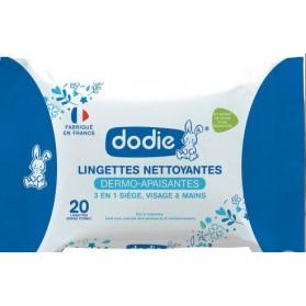 DODIE Lingettes Nettoyantes Dermo-Apaisantes 3en1 Format Pocket 20 Pièces