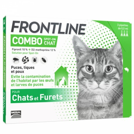 FRONTLINE COMBO SPOT-ON CHAT ET FURET 3 PIPETTES DE 0.5ML