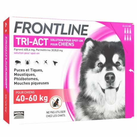 FRONTLINE - Tri-act - Spot-on chiens 40 à 60kg, 6 pipettes de 6ml