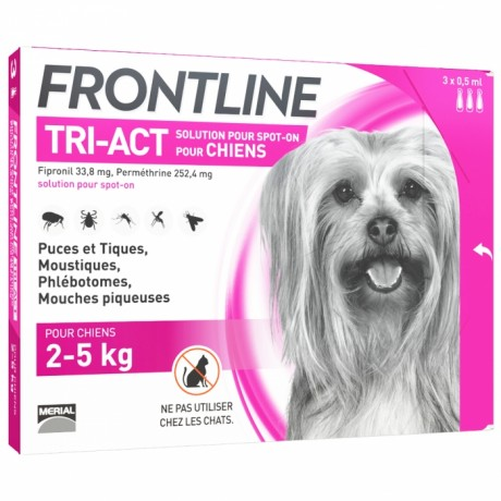 FRONTLINE TRI-ACT SPOT-ON CHIEN DE 2-5KG 3 PIPETTES DE 0,5ML