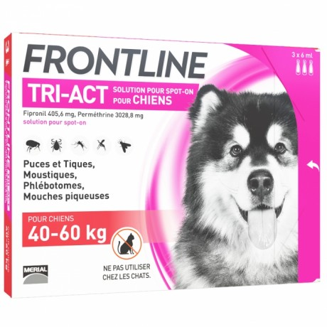 FRONTLINE TRI-ACT SPOT-ON CHIEN DE 40-60KG 3 PIPETTES DE 6ML