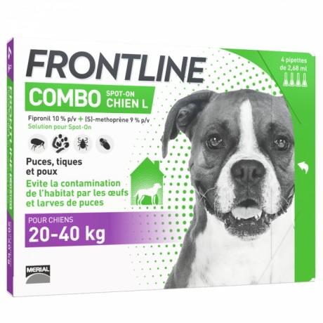 FRONTLINE COMBO SPOT-ON CHIEN L DE 20-40KG 4 PIPETTES DE 2,68ML