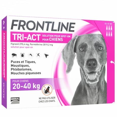 FRONTLINE - Tri-Act - Spot-on chiens 20 à 40kg, 6 pipettes de 4ml