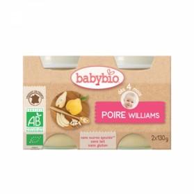 BABYBIO PETITS POTS BIO DES 4 MOIS 2X130G FRUITS - POIRE WILLIAMS
