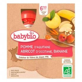 BABYBIO 4 gourdes pomme abricot banane dès 6 mois