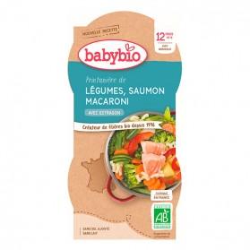 BABYBIO 2 Bols Légumes Saumon Macaroni Dès 12 mois