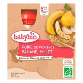 BABYBIO 4 Gourdes Poire Banane Millet dès 6 mois