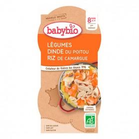 BABYBIO Bols Mijoté de Légumes Dinde Riz Dès 8 mois 2x200g