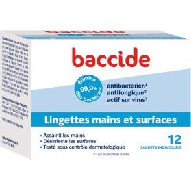 BACCIDE LINGETTES INDIVIDUELLES - boîte de 12 Lingettes désinfectantes