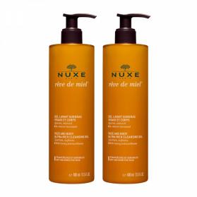NUXE - Rêve de Miel - Gel lavant surgras visage et corps,lot 2 x 400ml