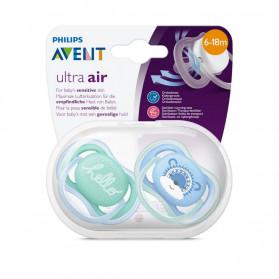 AVENT Lot de 2 Sucettes Ultra Air 6-18 mois Bleu-vert