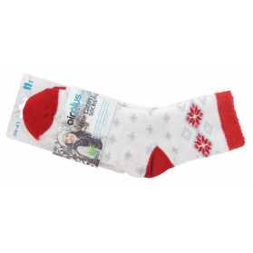 AIRPLUS ALOE CABIN CHAUSSETTES HYDRATANTES POINTURE 35-41 - COULEUR : BLANC FLOCONS ROUGES