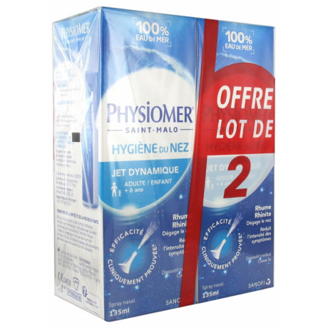 PHYSIOMER Hygiène du nez - jet dynamique, 2x135ml