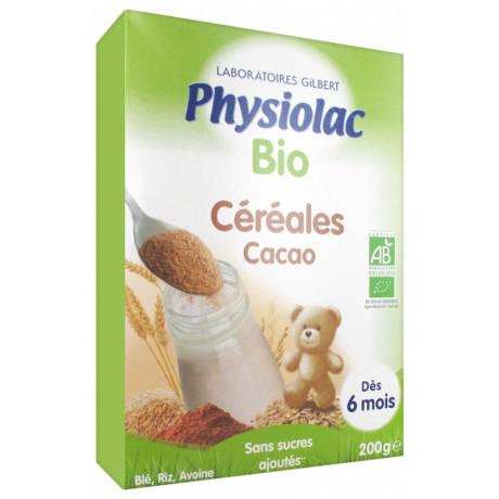 PHYSIOLAC BIO CÉRÉALES CACAO DÈS 6 MOIS 200 G