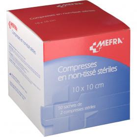 Méfra Compresses en Non-Tissé Stériles 10 cm x 10 cm x 50