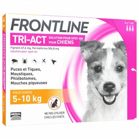 FRONTLINE TRI-ACT SPOT-ON CHIEN DE 5-10KG 3 PIPETTES DE 1ML