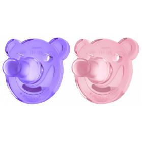 AVENT SUCETTES SILICONE ORTHODONTIQUES 0-3 MOIS X2 SOOTHIE- ROSE