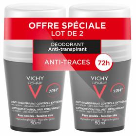 Vichy Homme Déodorant Anti-Transpirant 72H Contrôle Extrême Roll-On Lot de 2 x 50 ml