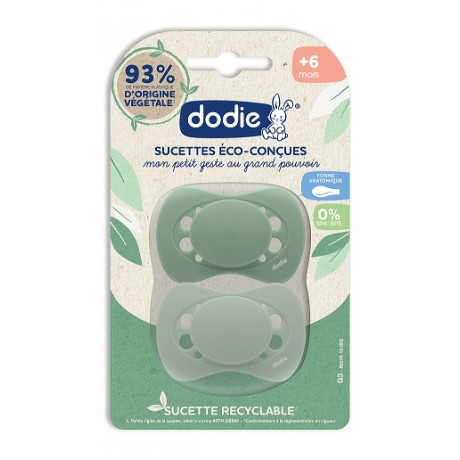 DODIE Sucettes Eco-conçues +6 mois lot 2 vert