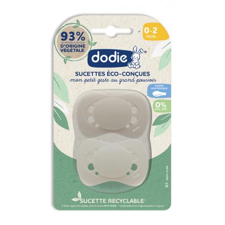 DODIE Sucette Eco-concue 0-2 mois lot 2 beige
