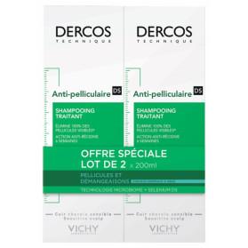 Vichy Dercos Shampooing Traitant Anti-Pelliculaire Cheveux Normaux à Gras Lot de 2 x 200 ml