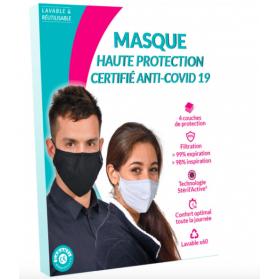 Masque de Protection Enfant Tissu au Cuivre Lavable catégorie 1 tailleM 10-16 ans bleu 60 lavages